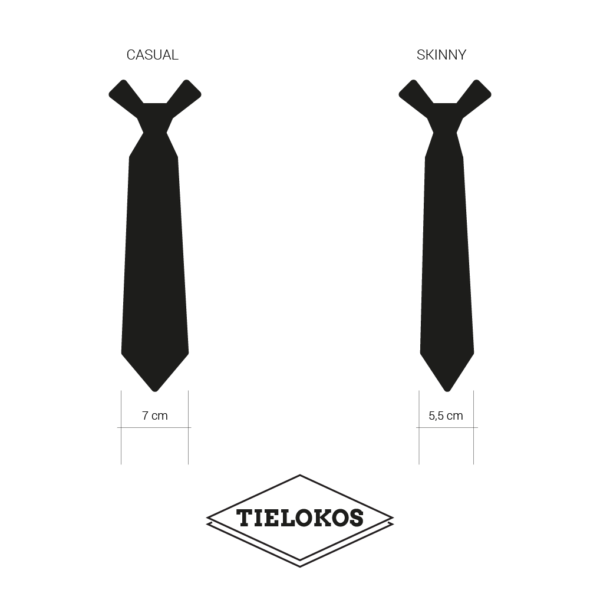 Measurements and types of Tielokos ties: casual and skinny
