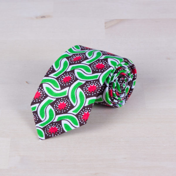 Corbata colorida con un estampado Wax Crop de tela africana
