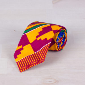 Colorful wax fabric tie with the traditional kente African geometric motif